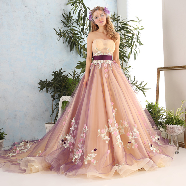 3a4db02c6de Stylish Elegant Strapless Sash Flowers Long Prom Dresses Multi Color Prom  Dress Tulle Debutante Gowns 2019 Custom Made