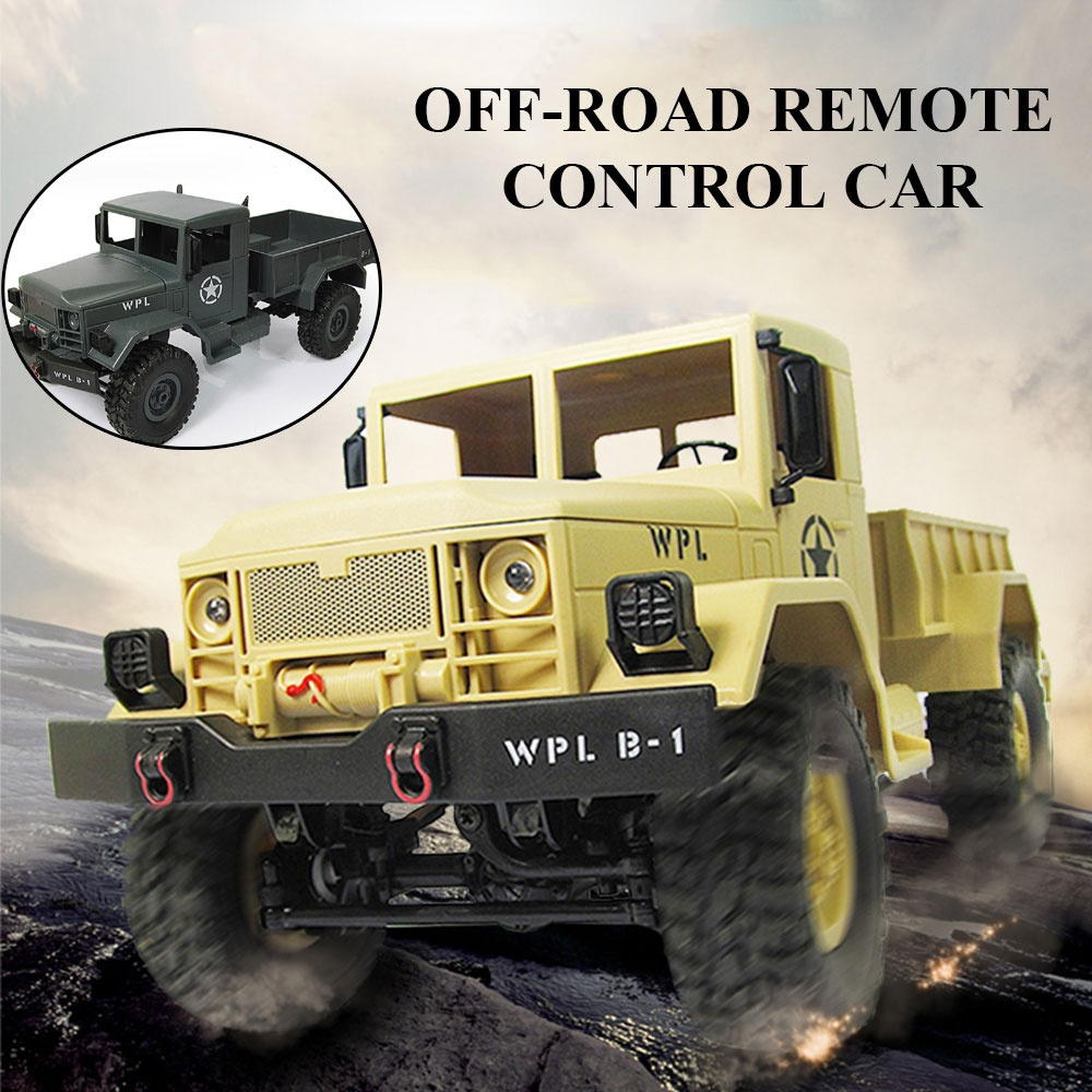 WPL WPLB-1 1/16 2.4G 4WD RC Rock Crawler Off Road Car Military Truck RTR Toy Green Khaki Remote Control Toys for Boy ChildWPL WPLB-1 1/16 2.4G 4WD RC Rock Crawler Off Road Car Military Truck RTR Toy Green Khaki Remote Control Toys for Boy Child