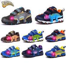 Dinoskulls Childrens Glowing Sneakers Boys Light Up Led Shoes 3D Dinosaur Sneakers Kids Boys Running Sports Shoes 27-34(China)