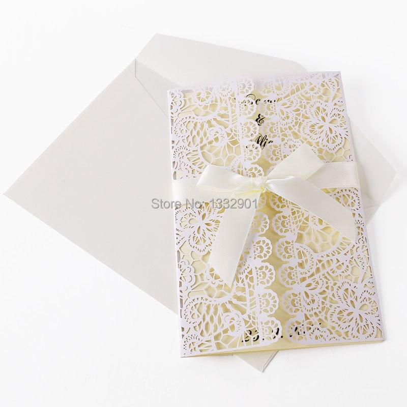 Blank Wedding Invitation Cards Lace Party Invites White Envelope ...