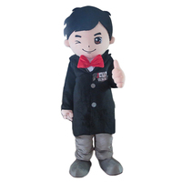 Black Suit Boy Mascot Costume adult Fancy Dress Charactor mascot costume for Halloween party
