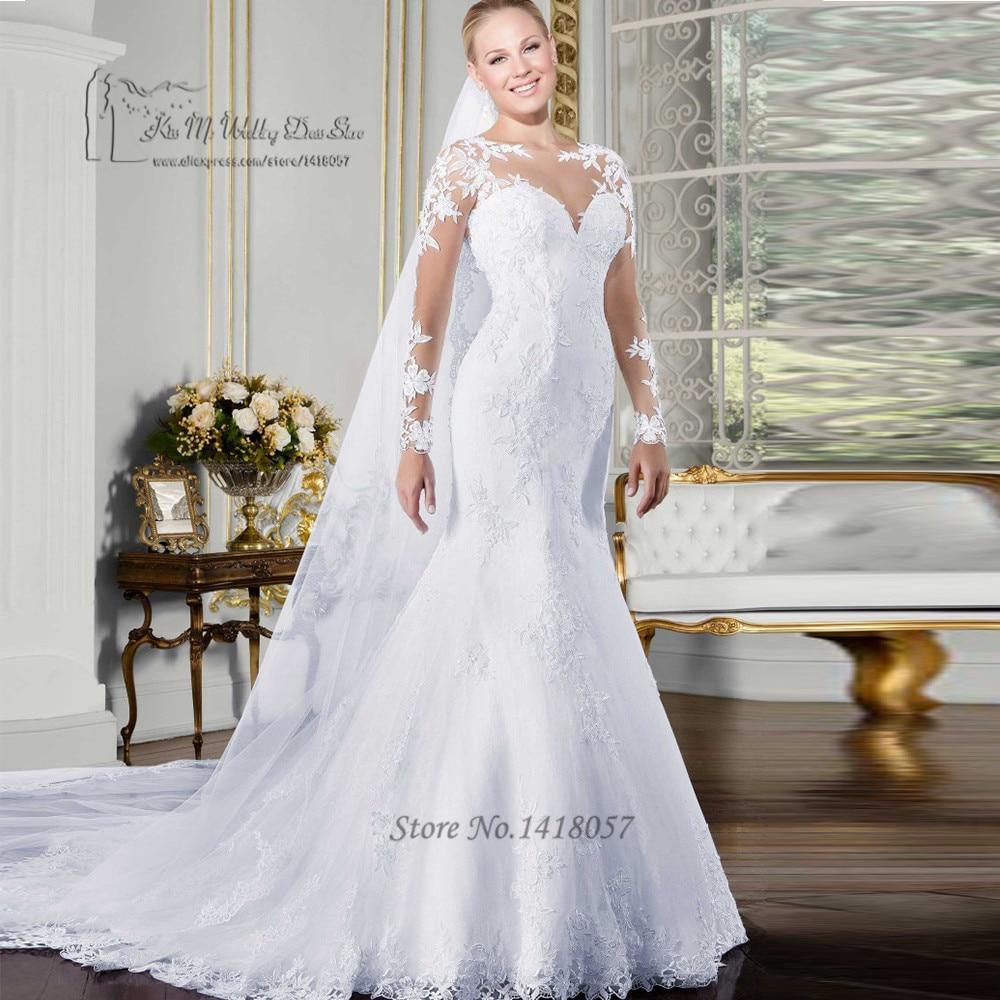 Vestido de Noiva Sereia Sexy White Long Sleeve Wedding Dress Mermaid See Through Back Wedding Gowns