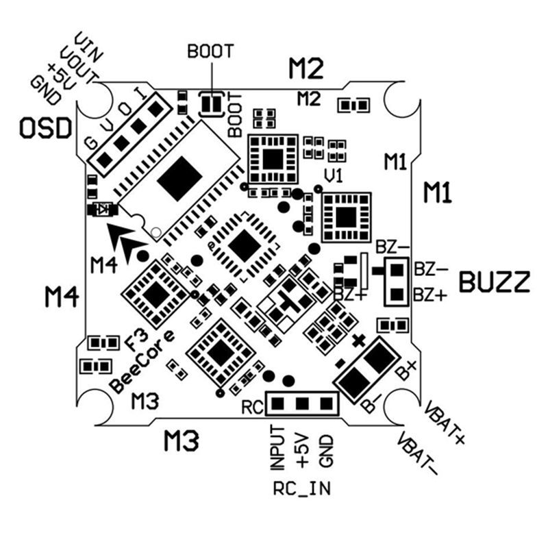 Beecore Omnbus F3 V1 Flight Controller Built In Osd Integrated 5a