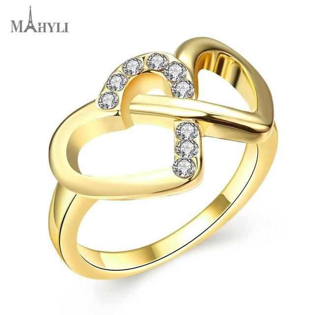 MAHYLI Promotion 18K gold plated ring double heart wedding rings