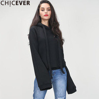 CHICEVER Hoodies Female Sweatshirts For Women Top Extra Long Flare Sleeves Pullovers With Hat 2017 Autumn