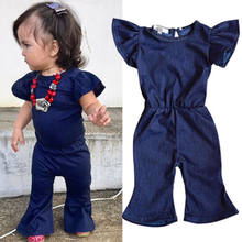 Summer Girls Kids Denim O-Neck Short Sleeve Jumpsuits Clothes Baby Girl Fasion Denim Jumpsuits Baby Clothing(China)