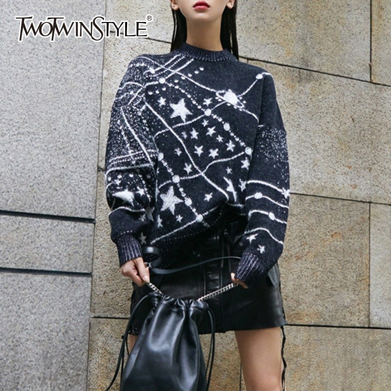 TWOTWINSTYLE 2019 Autumn Lady s Sweater O Neck Batwing Long Sleeve Loose Black Tops Female Pullovers