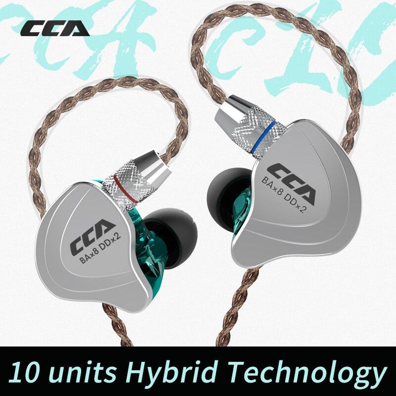 CCA C10 4BA con 1DD híbrido en la oreja los auriculares HIFI DJ Monito deporte auricular 5 Drive auricular desmontable separar 2PIN Cable