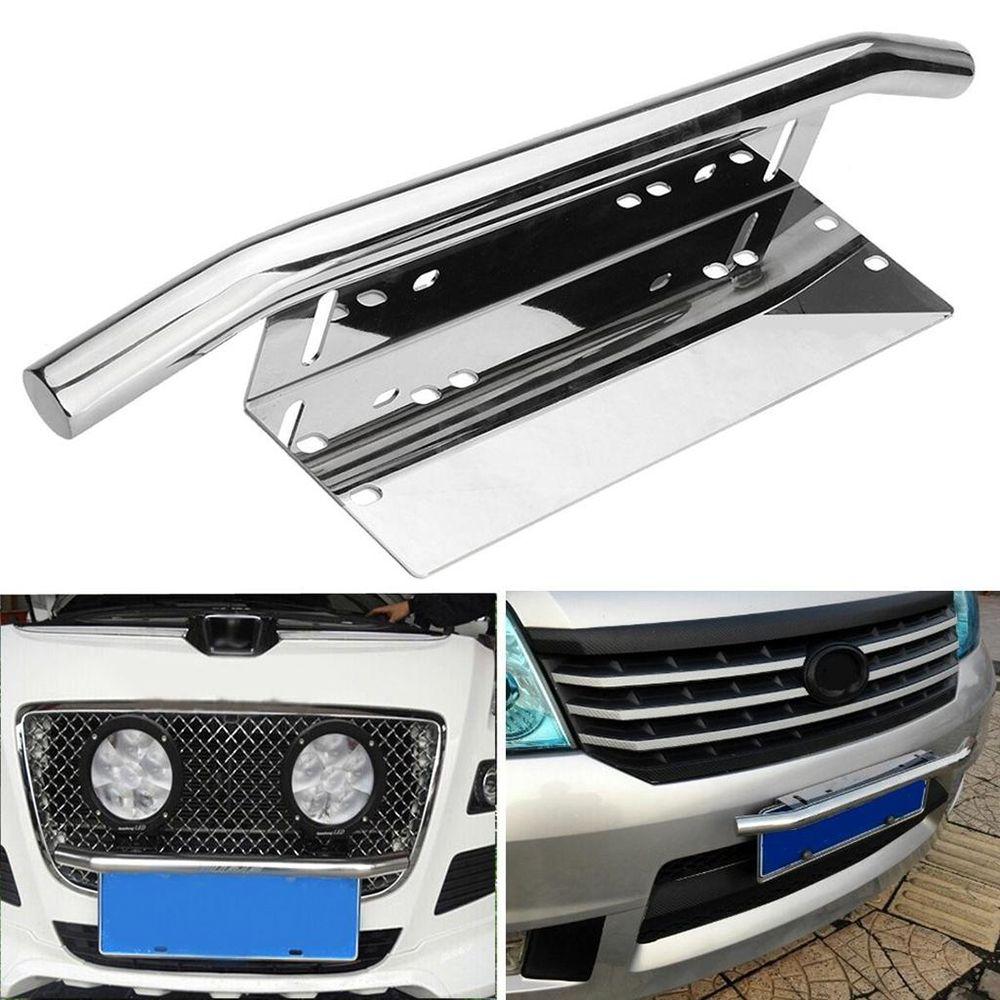 SEKINNEW Серебряная Автомобильная балка с креплением, кронштейн для автомобильного номерного знака, держатель рамки 59,5x9,8 см, бампер, номерной з