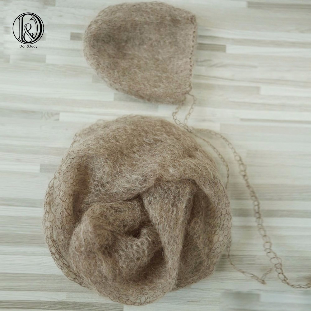 (60x30cm) Handknit Wraps Set(Wraps with Bonnet)Soft Real Little Mohair Baby Photography Props Newborn Photo Wraps