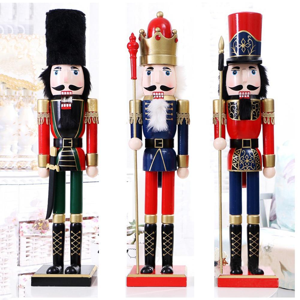 60CM Style britannique casse-noisette marionnette noël en bois artisanat fait à la main noël maison boutique bureau ornement noël cadeau d'anniversaire