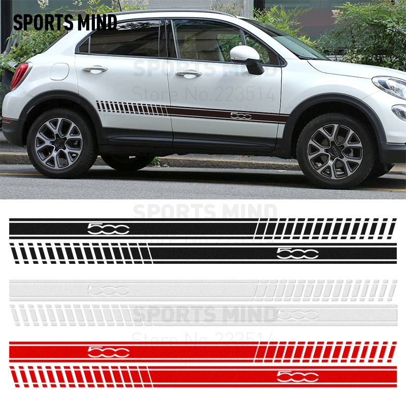 1 Pair Sports Mind Car-Styling On Car Door sticker Reflective material Vinyl Sticker decal For FIAT 500 accessories