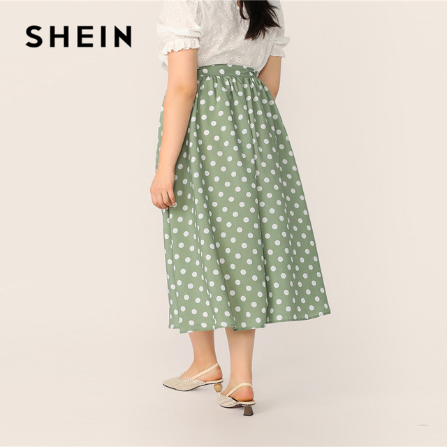 SHEIN Plus Size Green Polka Dot Button Up A Line Skirt 2019 Women Spring Summer Casual Elegant Long Loose Officewear Skirts 2