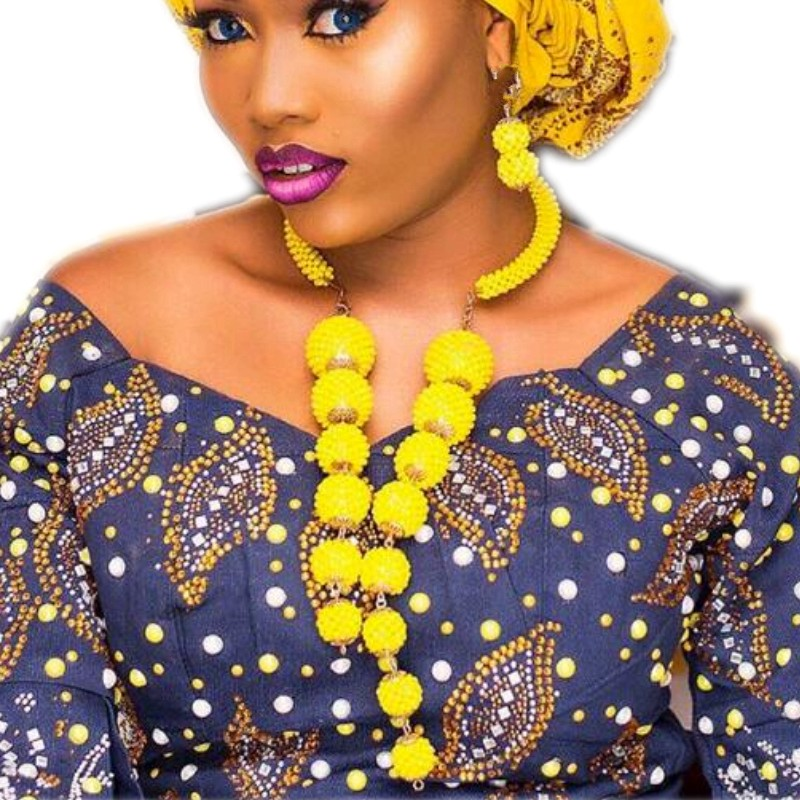 Romantic Bold Balls Nigerian Wedding African beads Jewelry Set Yellow Gold Dubai Necklace Jewelry Set For Bridal Women Free ShipRomantic Bold Balls Nigerian Wedding African beads Jewelry Set Yellow Gold Dubai Necklace Jewelry Set For Bridal Women Free Ship