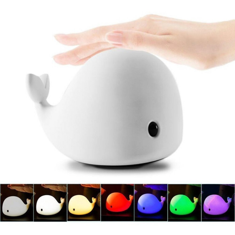 New Cute Dolphin USB Rechargeable Children Night Light Baby whale Multicolor LED Silicone Pat Lamp Touch Kawaii Light For Kids