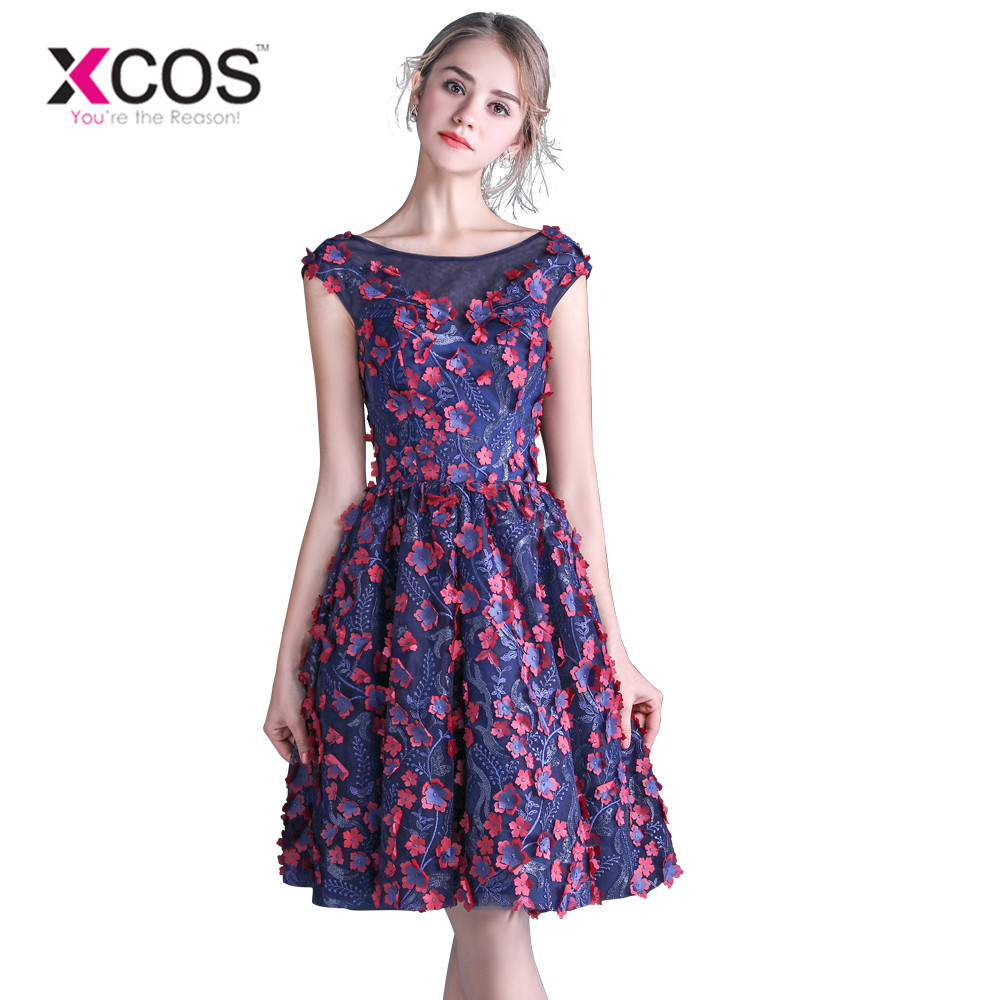 XCOS Navy Blue Short   Prom     Dresses   Flowers Cap Sleeves 2018 vestido de baile Open Back Women Formal Evening   Dress   Lace-up
