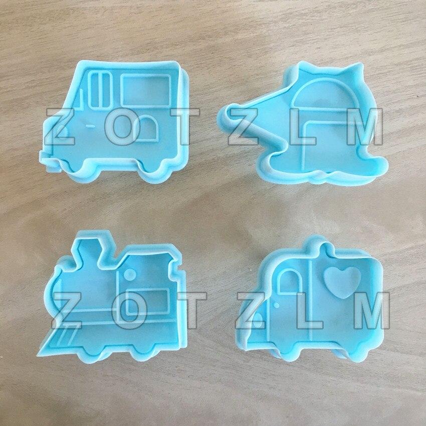 4 Stks/set Cartoon Transporten Thema Plastic Cookie Cutters Cake Biscuit Mold 3d Auto Helicopter Trein Truck Vormen Slp111 Fijn Vakmanschap