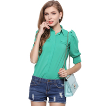 2016 women's Size Chiffon shirt small solid Shirt Short Sleeved chiffon shirt shrug slim.