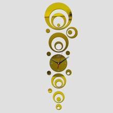 Diy 3D acrylic modern circles design quartz wall clocks