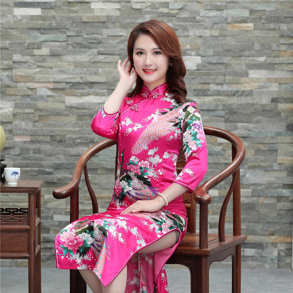 Chinese Lady 1920\'s Elegant Chipo Women Hot Pink Rayon Qipao Cheongsam  Spring Autumn New Dress Vestidos Plus Size S-6XL