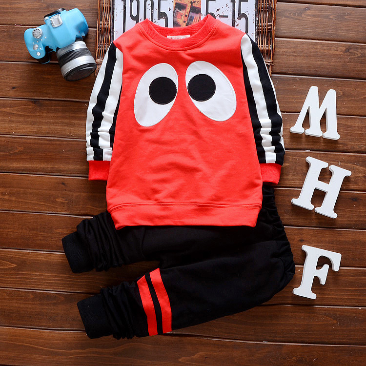 Baby Girl Clothes 2017 Brand Newborn Infant Clothing Cartoon Eye Long Sleeve T-shirt Pants 2PCS Jogging Suits Baby Boy Clothes