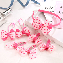 1Set Girls Cute Hair Accessories Set 4Hair Clips+2 Bands+1 Hairband For Children Headbands Kids Gifts Holder