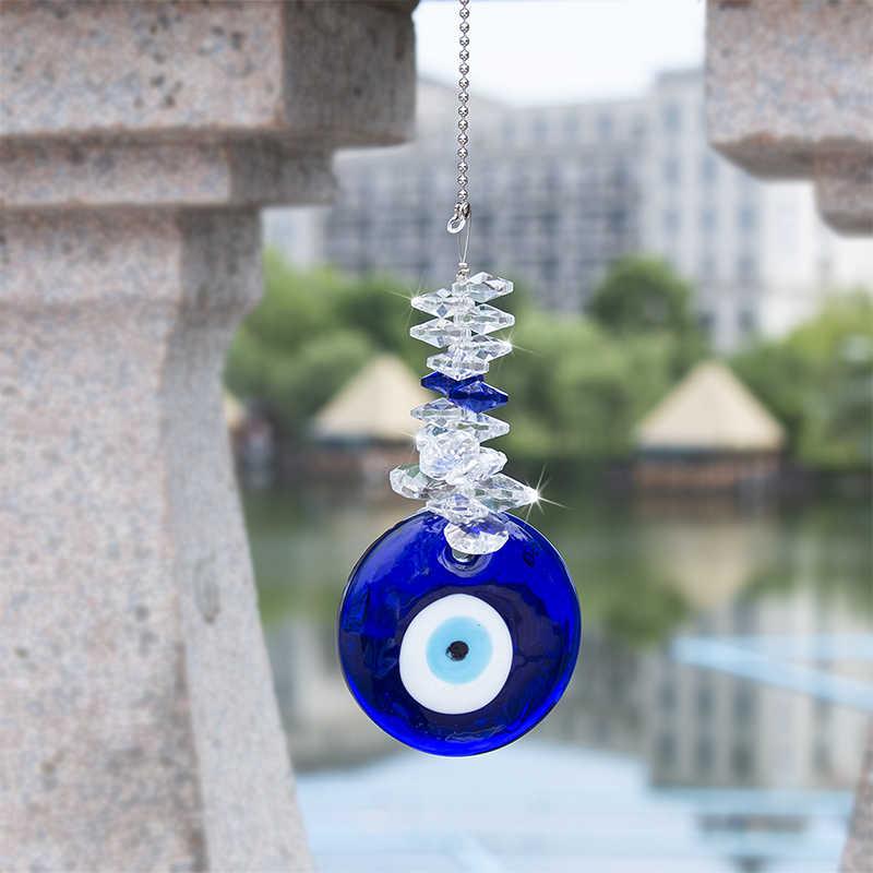 H & D Blue Evil Eye Talisman Suncatcher avec perles de cristal bonne chance charme tenture murale bénédiction ornement cadeau pour la maison, la voiture, le bureau