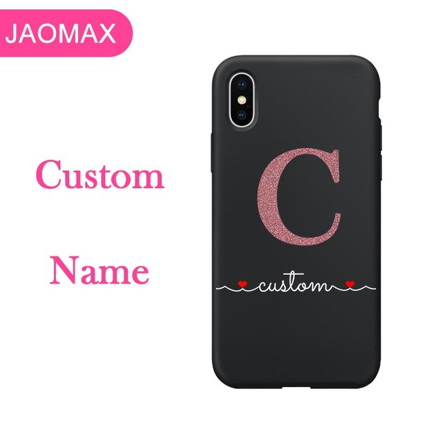 Us 6 81 Jaomax Personalized Name Custom Phone Case For Iphone X Xs Max Xr 8 7 Plus 5s Glitter Word Design Soft Black Silicone Heart Capa In