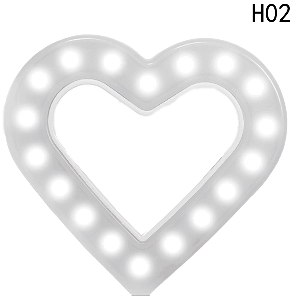 Heart-shaped Rechargeable USB Charge With Battery Charging Selfie Portable LED Ring Fill Light Camera For Android Smart Phone