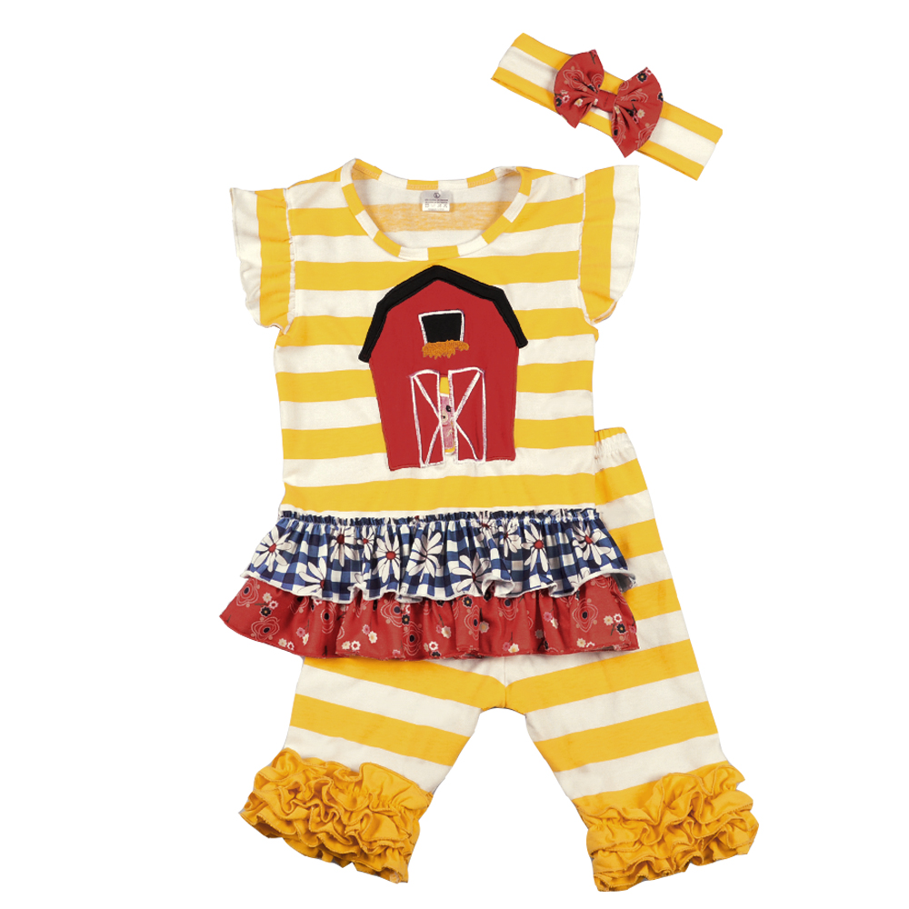 Fashion New Design Toddler Girls Clothing Set Summer Embroidery Boutique Yellow Striped Shorts Baby Remake Outfits Set factory wholesale price new design toddler boy clothing set summer fish embroidery boutique shorts baby remake outfits set