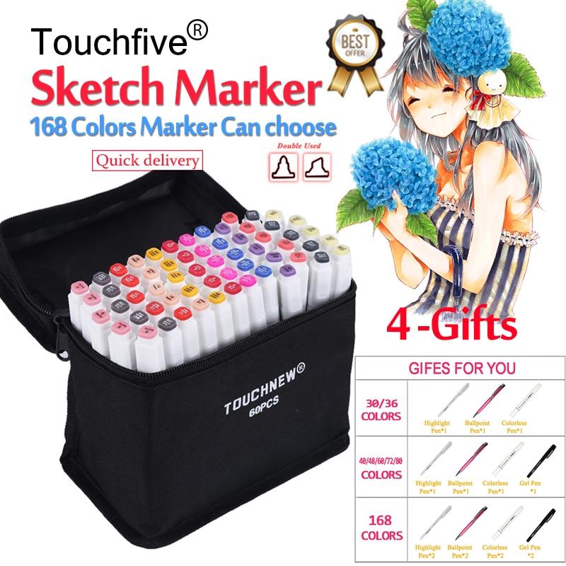 все цены на Touchfive Marker 30 40 60 80 168 Colors Brush pen Marker set Sketch Markers Brush Pen Dual Head Art Markers For Draw Manga онлайн