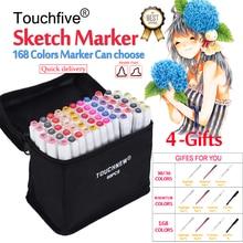 цена на Touchfive Marker 30 40 60 80 168 Colors Brush pen Marker set Sketch Markers Brush Pen Dual Head Art Markers For Draw Manga