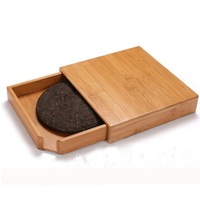 10pcs Retro Pu'er Tea Box Wood Storage Box Natural Bamboo Tray Tea Accessories Decoration Square Gift Case Organizer ZA4706
