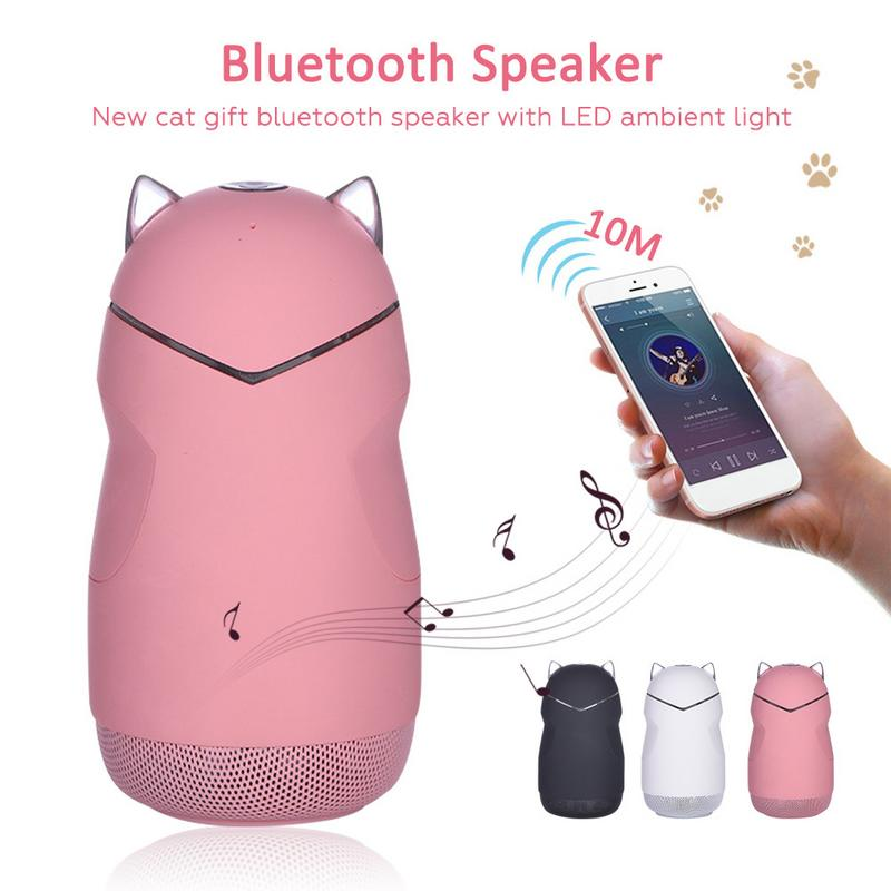 New <font><b>Cat</b></font> Gift <font><b>Bluetooth</b></font> <font><b>Speaker</b></font> With LED Atmosphere Light Subwoofer Cartoon Innovative Hands-Free Calling Wireless <font><b>Speakers</b></font> image