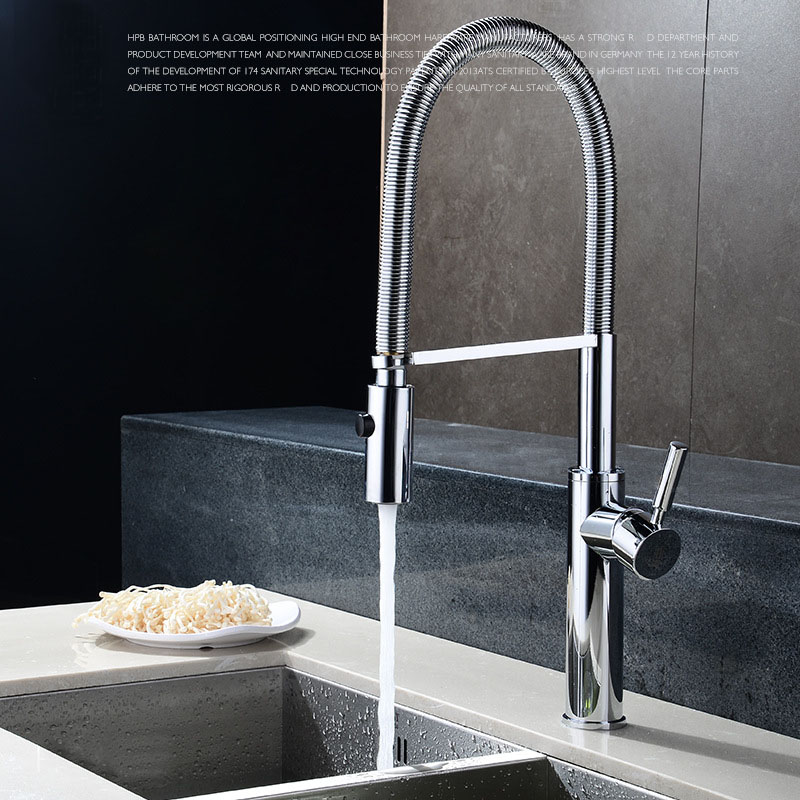 Quality Brushed Chrome Kitchen Faucet Mixer Tap Swivel Spout Hand ...