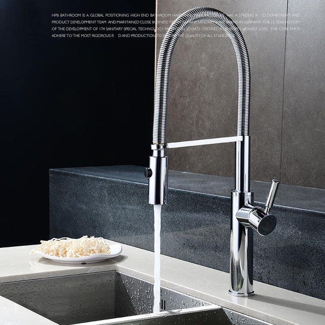 Quality Brushed Chrome Kitchen Faucet Mixer Tap Swivel Spout Hand