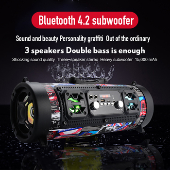 15W Portable Outdoor Bluetooth 4.2 Speaker FM Radio USB Car Subwoofer HD Surround Stereo Wireless Speaker Support TF AUX Mic MP3