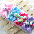 F31 Free shipping  Fashion Baby Girl Hair Bow with Ribbon Lined Clip Children Hairpin Sale 4pcs/card Send mixed color