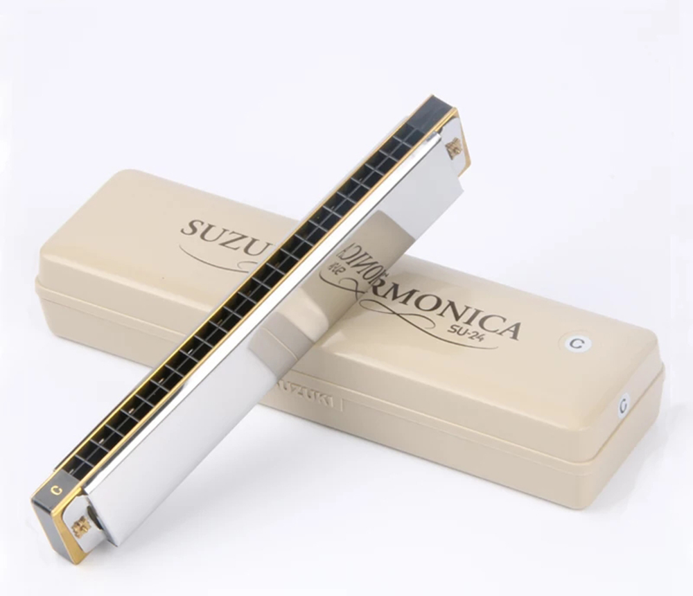 Suzuki Su-24 2 Timer Tremolo Harmonica 24 Holes Traditional Dual Notes Key  C Harp Brass Reeds Quality Japan Musical Instruments