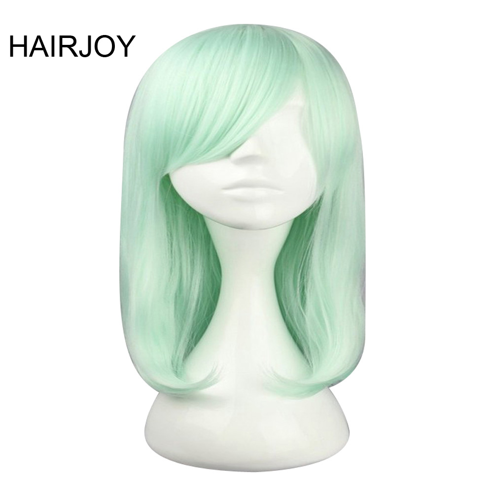 HAIRJOY Light Green Costume Wig 50cm Medium Length Straight Synthetic Hair High Temperature Fiber Cosplay Wigs Free Shipping