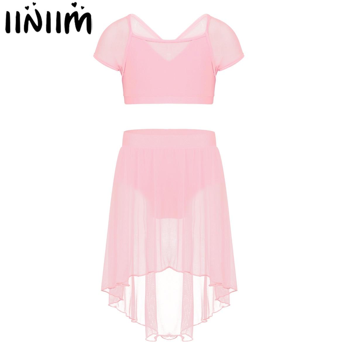 iiniim Kids Girls Splice Cap Ballet Dancewear Bowknot Ballet Dance Gymnastics Leotard Costumes Ballerina Crop Top with Skirt