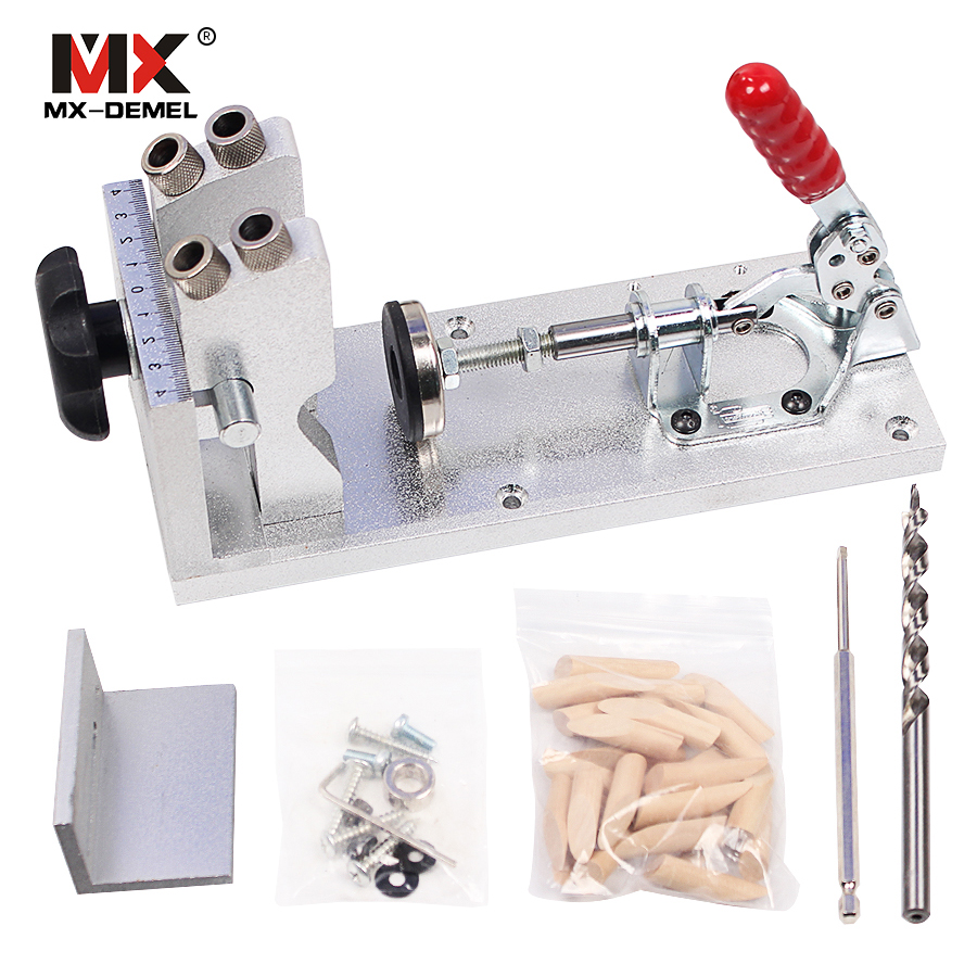 MX-DEMEL Woodworking Carpenter Kit System Inclined Hole Drill Tools Clamp Base Drill Bit Kit System,Pocket Hole Jig Hand tools woodworking tool pocket hole jig woodwork guide repair carpenter kit system with toggle clamp and step drilling bit k527