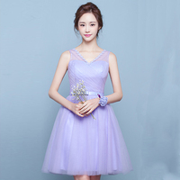 Elegant Various Styles Bridesmaid Dress V Neck Above Knee Pleat Organza Empire Prom Gown