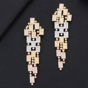 Image 3 - GODKI 73mm Luxury 3 Tone Geometry Long Dangle Earrings For Women Wedding Fu Cubic Zircon Crystal CZ Dubai Indian Bridal Earrings
