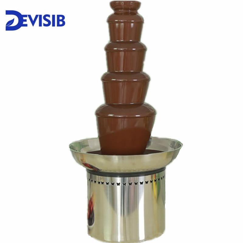 DEVISIB 5 Tier Kommerziellen Schokolade Brunnen Fondue mit Edelstahl 304 Material Weihnachten Hochzeit Veranstaltung Partei Liefert