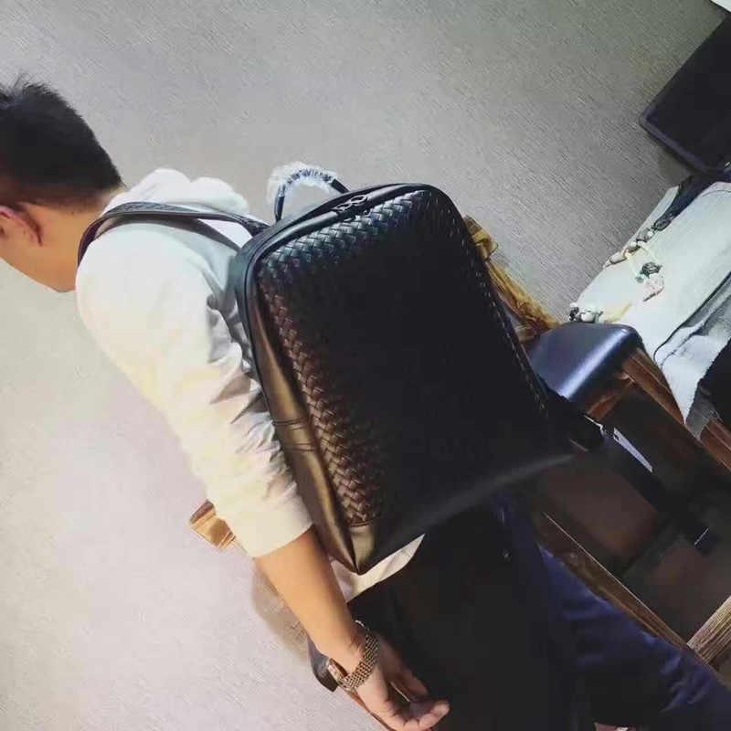 Kaisiludi treccia duplex di cuoio di svago degli uomini borsa da viaggio di grande capienza di modo semplice di affari degli uomini di viaggio zaino