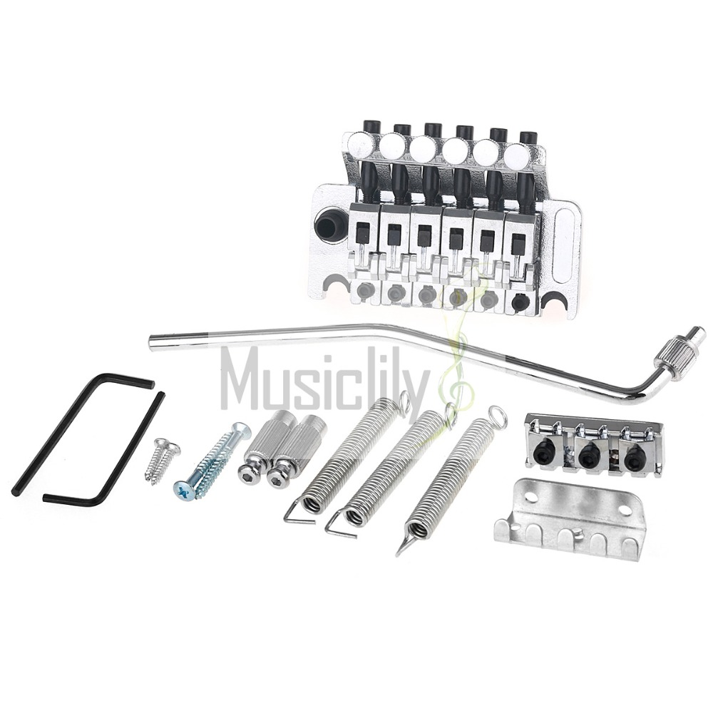 Chrome Zinc Alloy Locking Tremolo Bridge System Set For Guitar Parts niko chrome floyd rose lic tremolo bridge double locking system free shipping wholesales