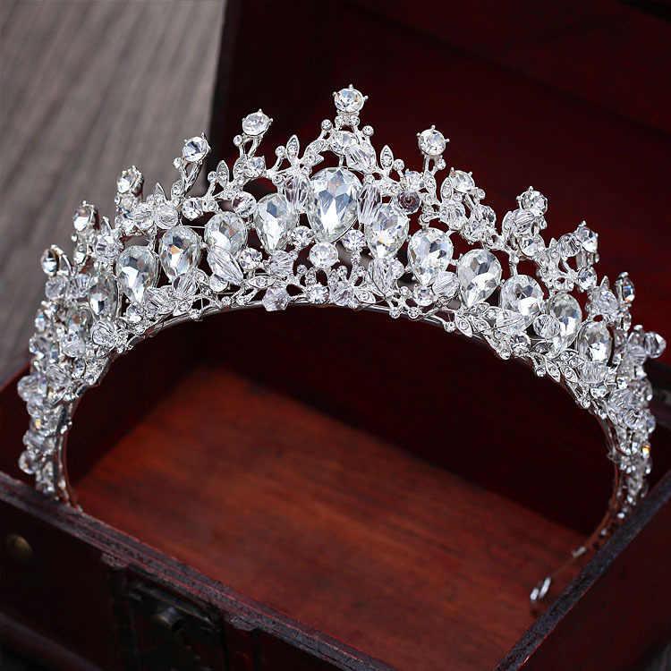 b8a5dad96b big crystal beads handmade bride crown headwear wedding tiara women ...