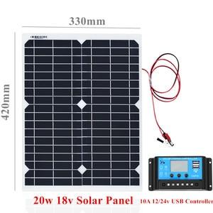 Image 2 - Panel de energía Solar portátil de 20W, celdas, módulo de polímero, cargador de batería, Cable de 1,5 m + controlador de carga Solar de 10A 12V, regulador automático USB