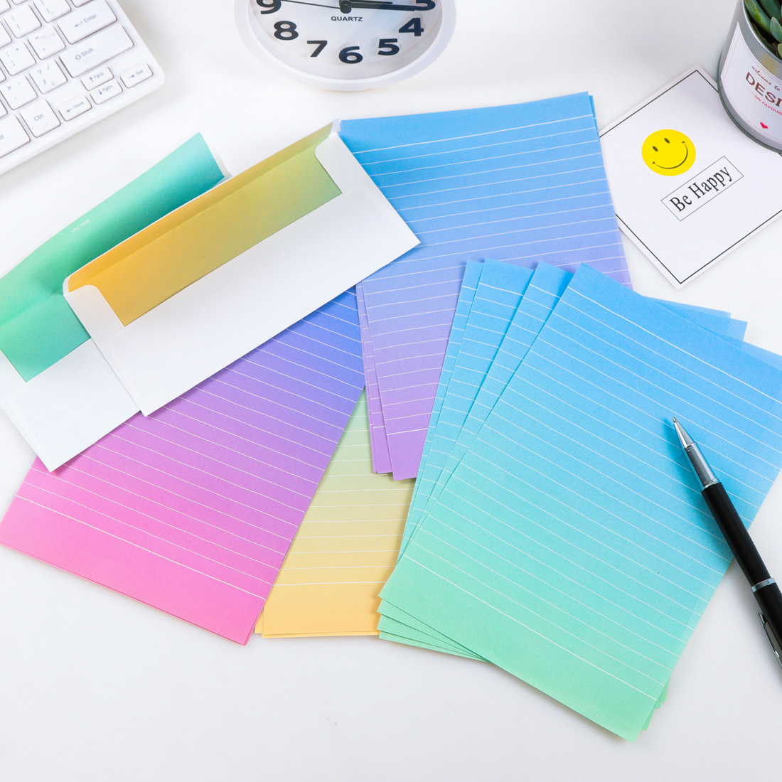 FangNymph Gradient Envelopes Cute Kawaii Flower Writing Paper Letter Set For Kids Gift School Supplies Student School Supplies